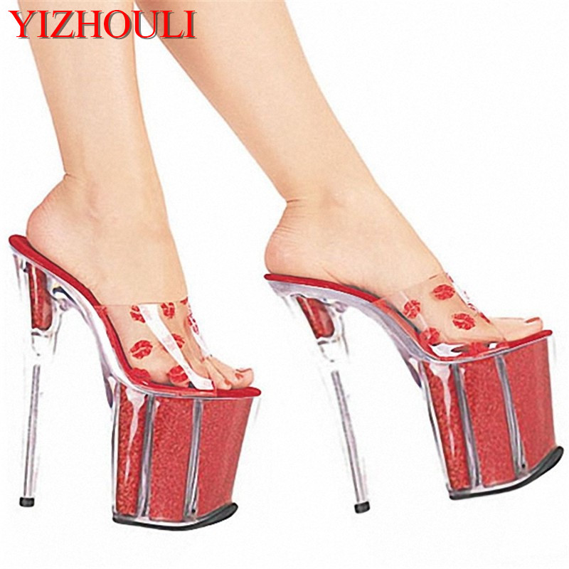 20cm High-Heeled Shoes Sexy Red Lips Crystal Flat Shoes Slippers 8 Inch Lady Fashion Shoes Sexy Exotic Dancer Slippers 20cm pole dancing sexy ultra high knee high boots with pure color sexy dancer high heeled lap dancing shoes