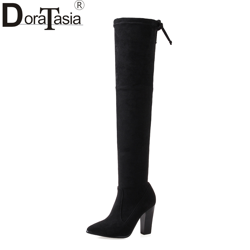 DoraTasia Large Sizes 33-43 High Heels Woman Shoes Women Boots Winter Over The Knee Boots Black Long Boots