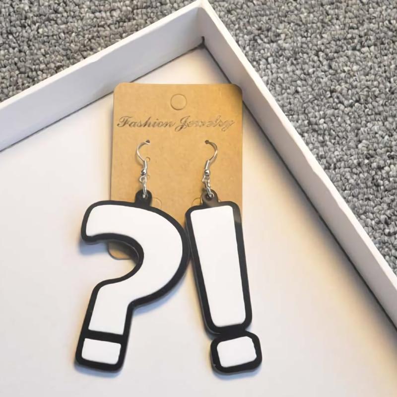 Hot Hook Drop Earrings Question Mark Exclamation Mark Fashion Big Long Drop Earrings Jewelry For Girl Earring