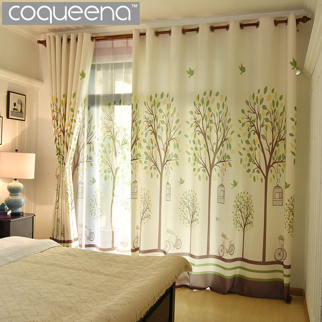 Tree Design Print Natural Faux Linen Curtains for Living Room the ...