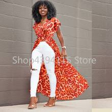 Bohemian maxi dress 2019 spring summer floral printed beach dress african women boho robe clothing sexy high slit party dresses(China)