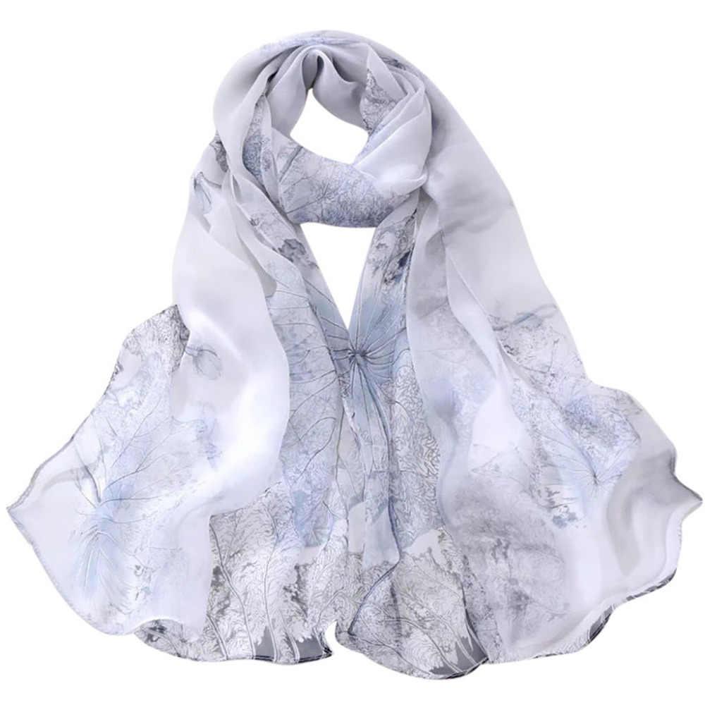 אופנה נשים צעיפי לוטוס הדפסה ארוך רך גלישת אלסטי צעיף גבירותיי צעיף לנשימה צעיפי פופולרי סגנון פונצ 'ו Echarpe