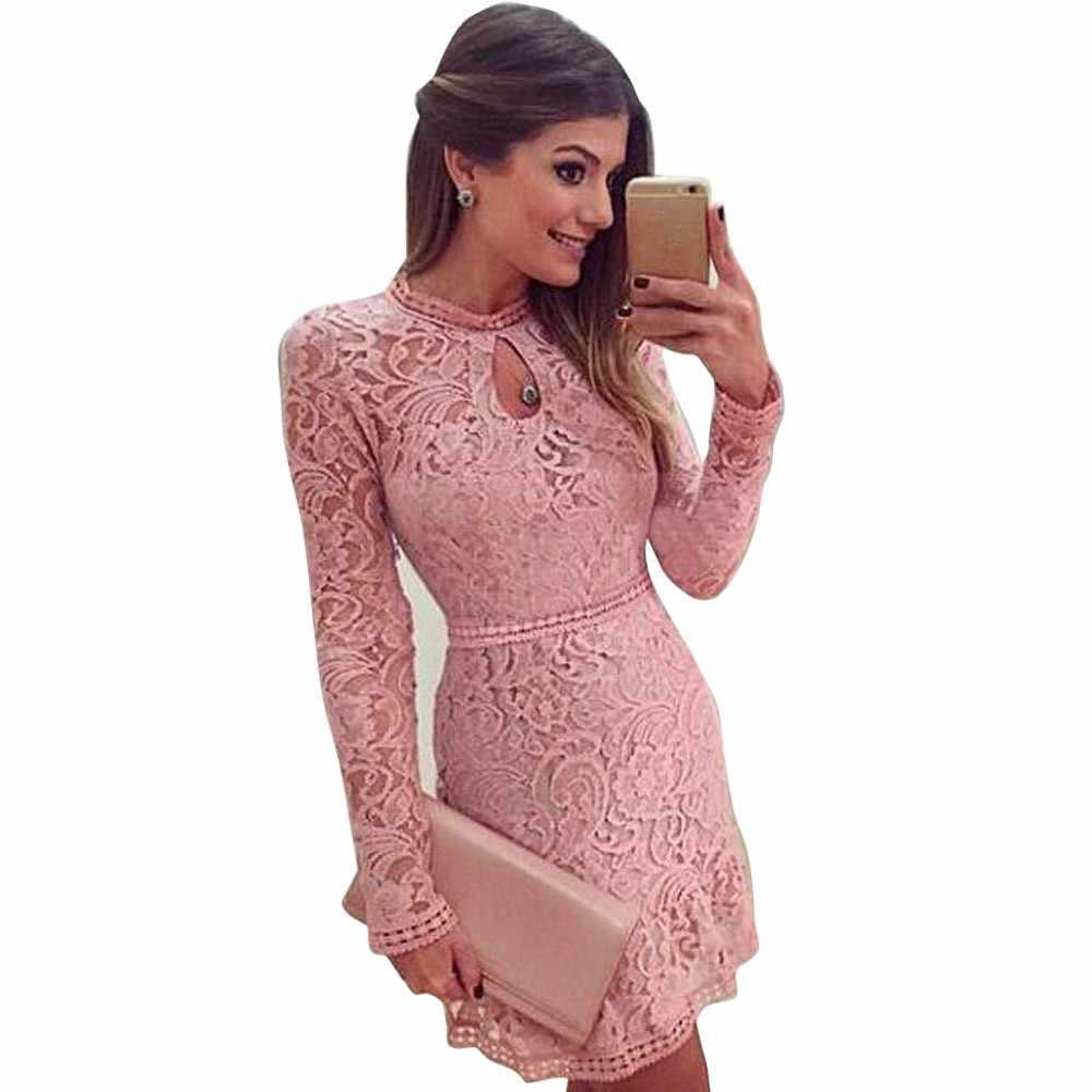 2019 Transport lotniczy Factory Direct Wear noszenie letniej sukienki kobiety Hollow Lace z długim rękawem Slim Sexy Dress Party Evenig Dress