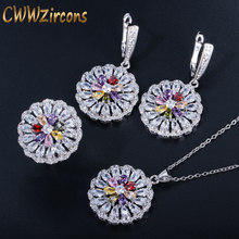 CWWZircons Multi Red Blue Green Color Cubic Zirconia Round Flower Drop Ladies Silver Necklace Earring and Rings Jewelry Set T321(China)