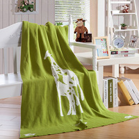 1 PCS 100 130CM Knit Blankets Cotton Cartoon Giraffe Knitted Children S Blanket For Home Beds