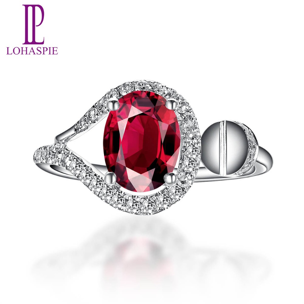 LP Solid 18k White Gold 1.19ct Natural Rubellite & Diamond Clou Engagement Ring Diamond Jewelry For Women Gift