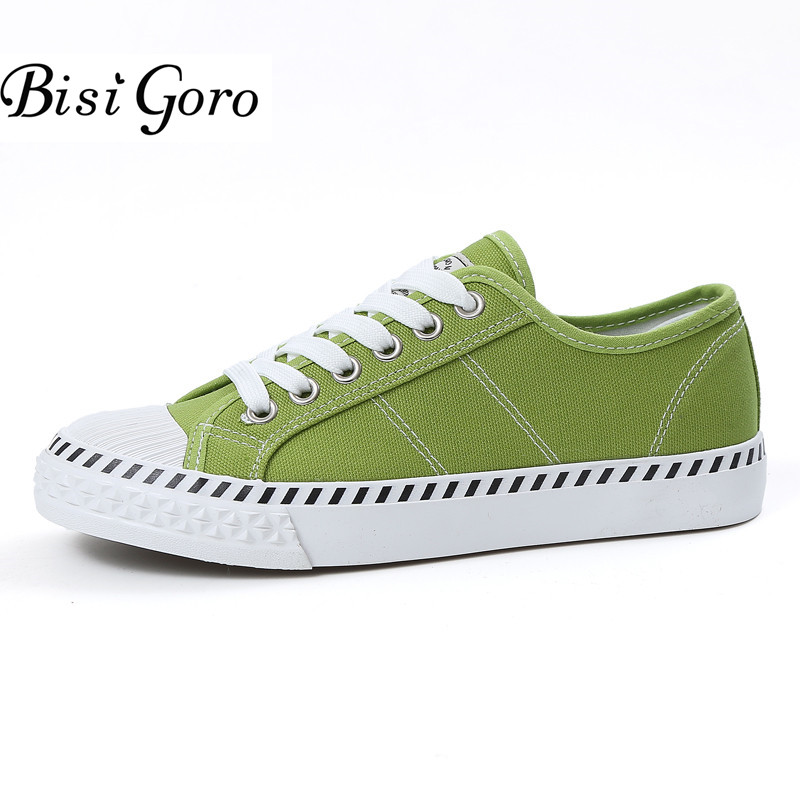 BISI GORO Canvas Flats Shoes Women Lace Up Round Toe Loafers Women Casual White Sneakers Girls School Shoes 5 Colors 2017 vintage embroidery women flats chinese floral canvas embroidered shoes national old beijing cloth single dance soft flats