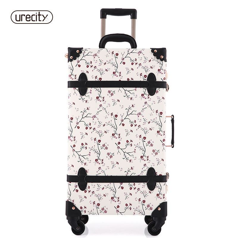 2018 NEW Women Floral Travel Luggage Retro Suitcase Spinnner Travel Luggage Bag Rolling Floral Flower Printed Digital