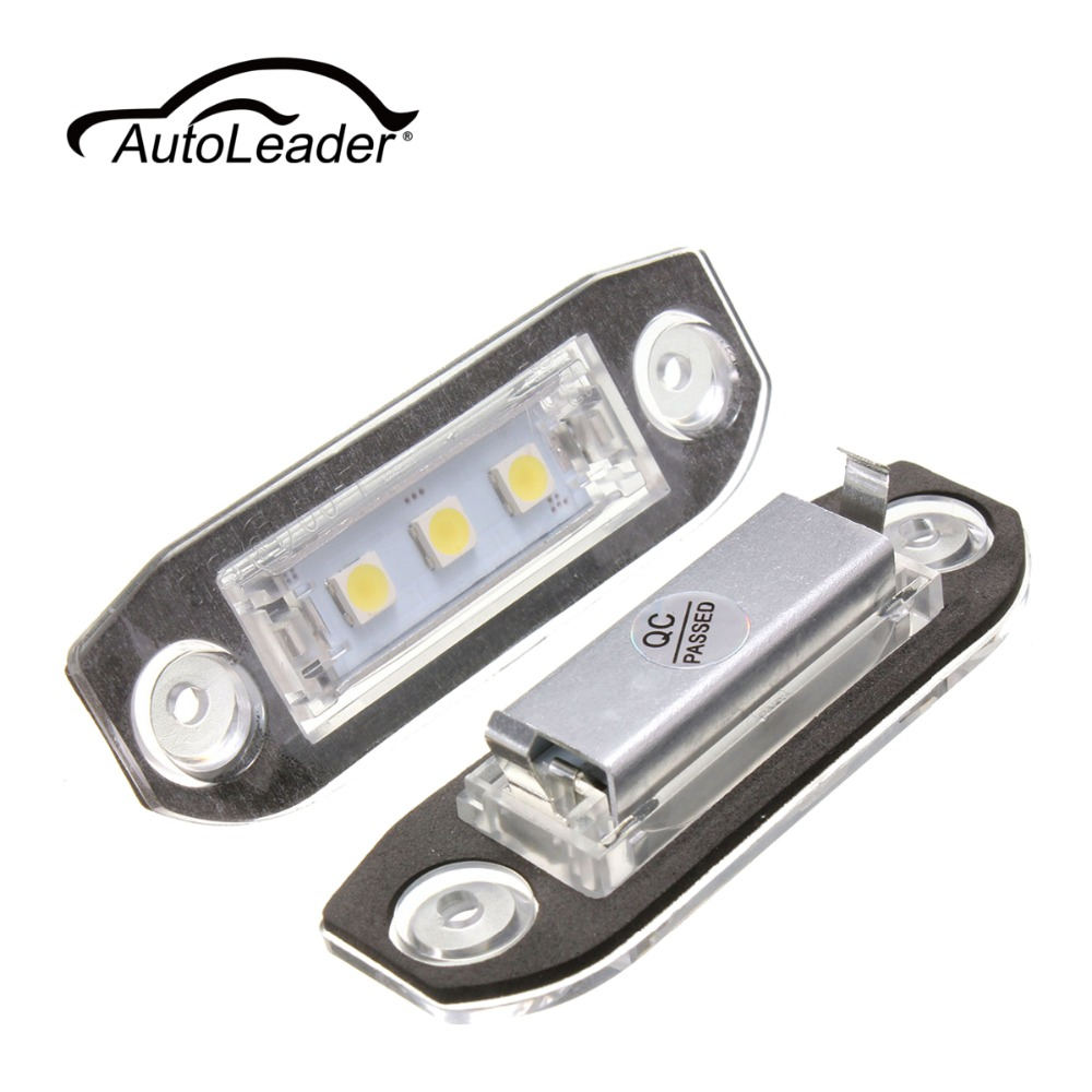 AutoLeader 1Pair Car LED License Plate Lights 12V White 3 5050-SMD LED Number Plate Lamp For Volvo S80 S60 C70 V70 E-marked 2pcs car led number license plate lights lamp frame 12v white smd led bulb kit for chevrolet cruze camaro 2010 2014 accessories
