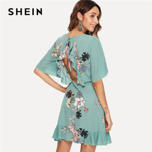 7ade671902b0 SHEIN Green Vacation Tribal Bohemian Beach Bell Floral Print Flounce Sleeve  Ruffle Hem Botanical Dress Summer Women Casual Dress