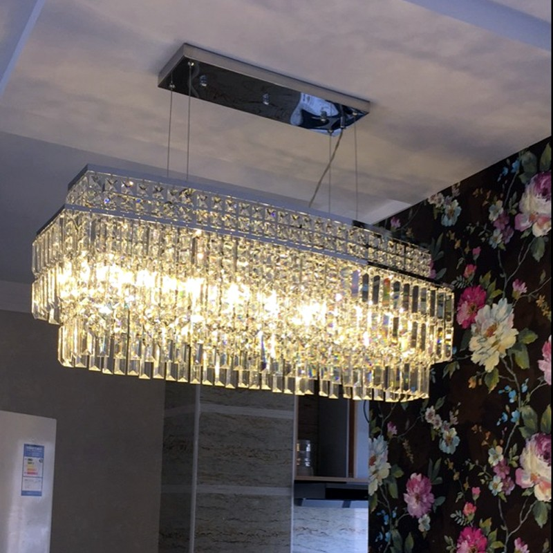 Crystal engineering lamp rectangle crystal lamp pendant light sales department model room pendant lamps hotel lobby mall lights