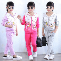 Spring Autumn kids sport suit 4 12T teenage girls clothing set zipper sports clothes for girls children tracksuit