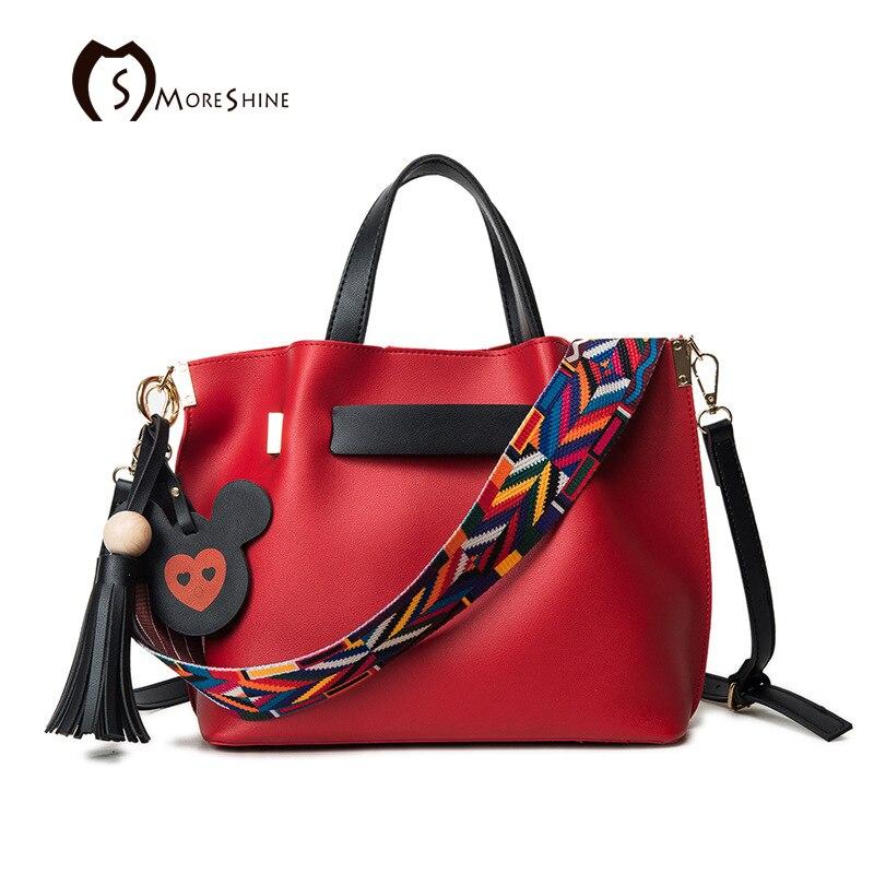 ФОТО MORESHINE Fashion tassel Leather women Handbag 2 sets Multicolor strap design shoulder bag Female Drawstring tote Crossbody bags