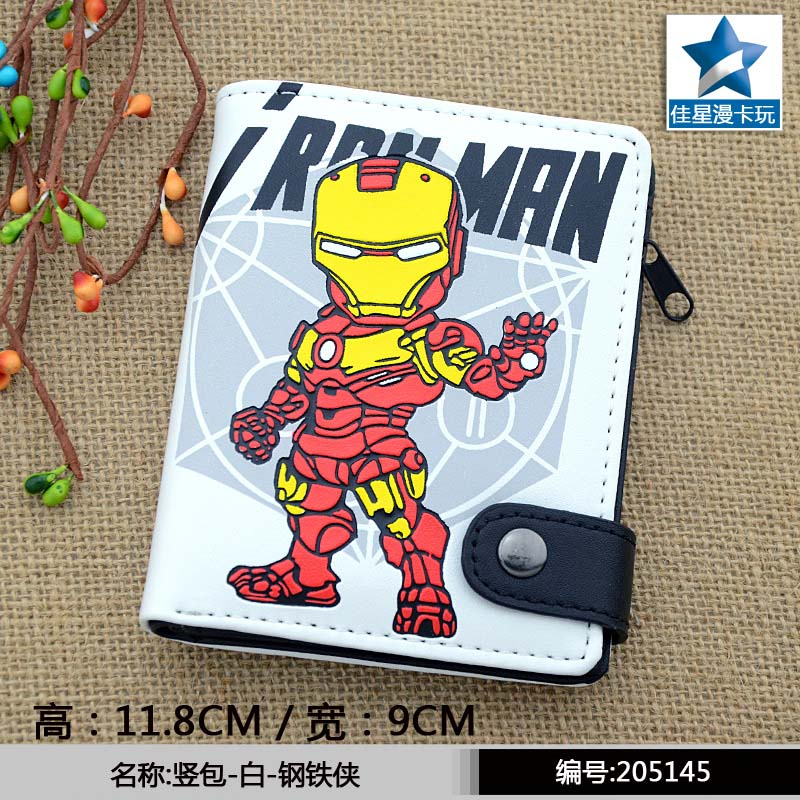 American Movie Iron Man PU Short Zero Wallet/Coin Purse with Interior Zipper Pocket striped pu zero wallet japanese mascot kumamon coin purse with interior zipper pocket