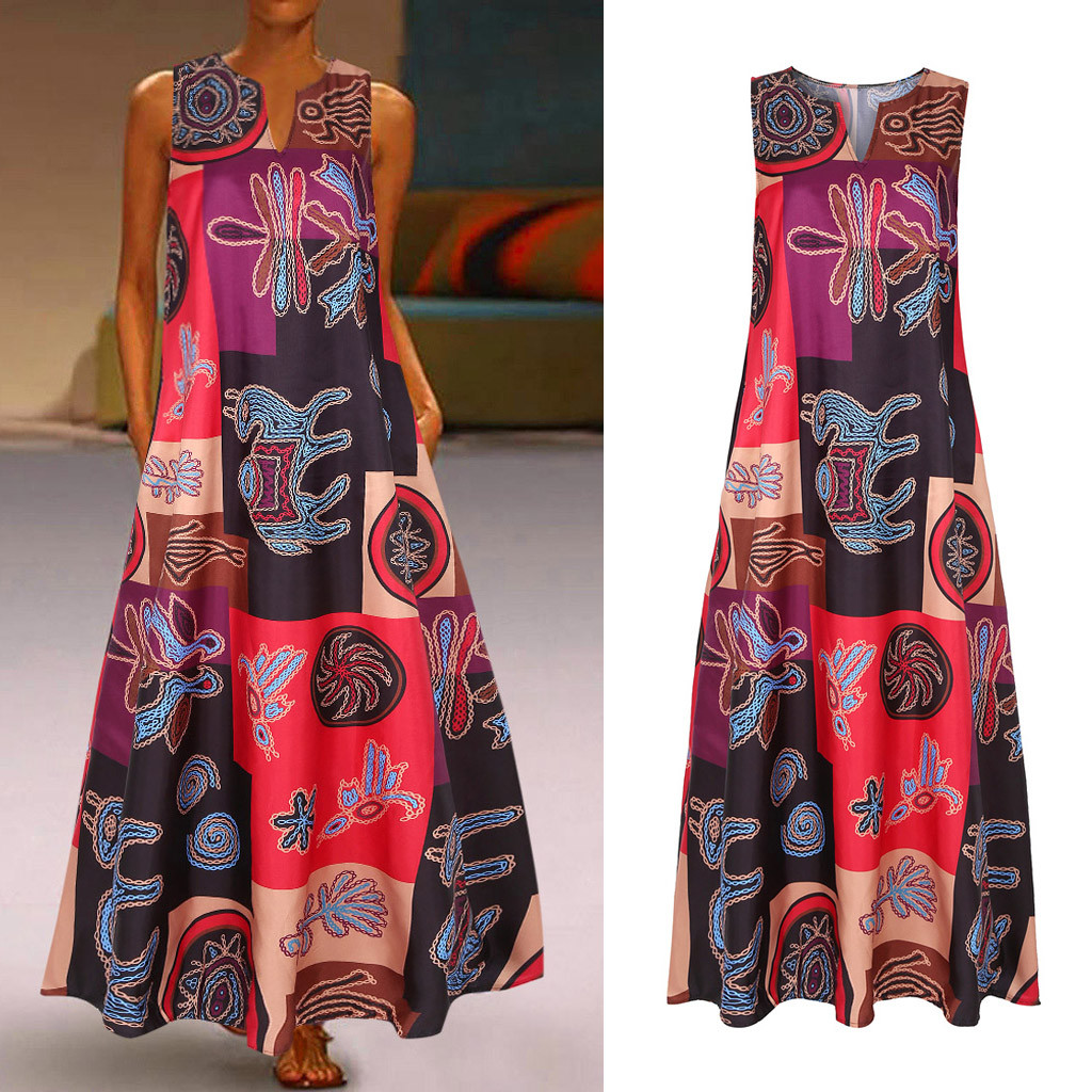 Women Summer Dress Plus Size Print Daily Casual Sleeveless Vintage Bohemian V Neck Maxi Dress Female
