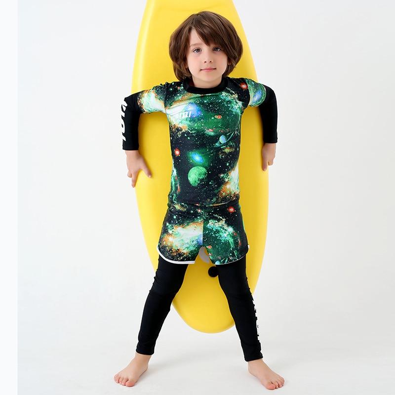 54db736b90 Surfing Two Piece Swimsuit Boy New Long Sleeves Swimwear Kids Long Pants  Beach Bathing Suit Child Print Stars Letter Swim Wear-in Body Suits from  Sports ...