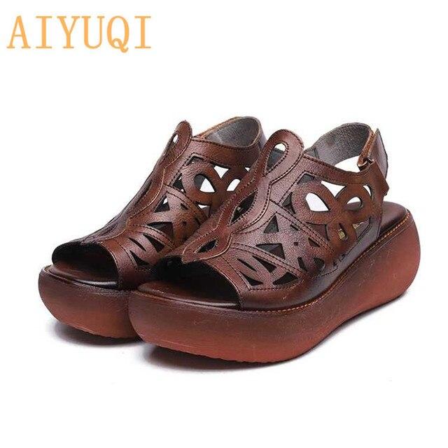 AIYUQI Retro 2019 novas mulheres de couro genuíno Das sandálias Das Mulheres sandálias, verão sapatos de plataforma plana, sandália de couro natural das mulheres