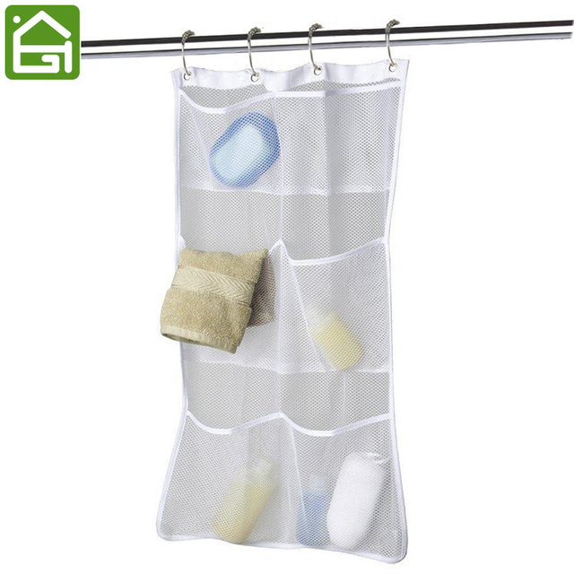 Hanging Bathroom Storage Bag Shower Curtain Caddy Soap Towel Shampoo Organizer With Hook Space Saver