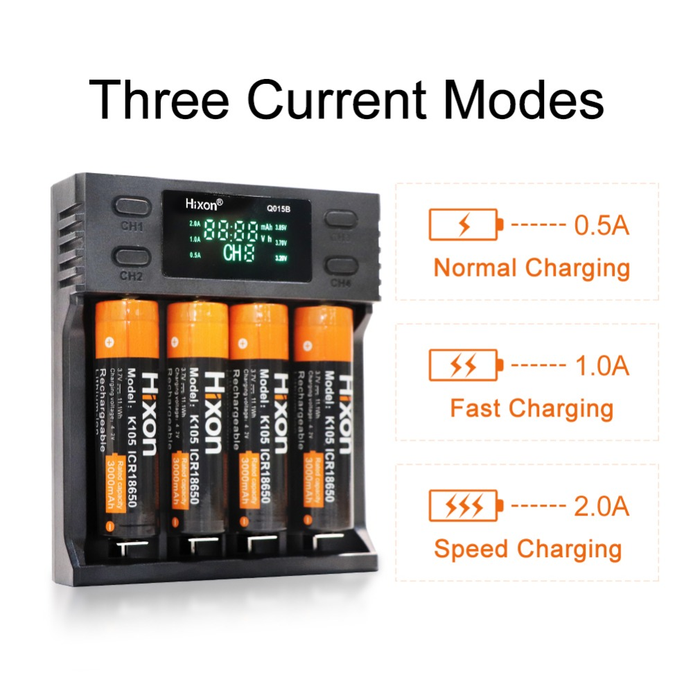 Hixon 4 Slots USB  Battery Charger for 18650 16340 RCR123A Li-ion /&AA AAA Ni-MH