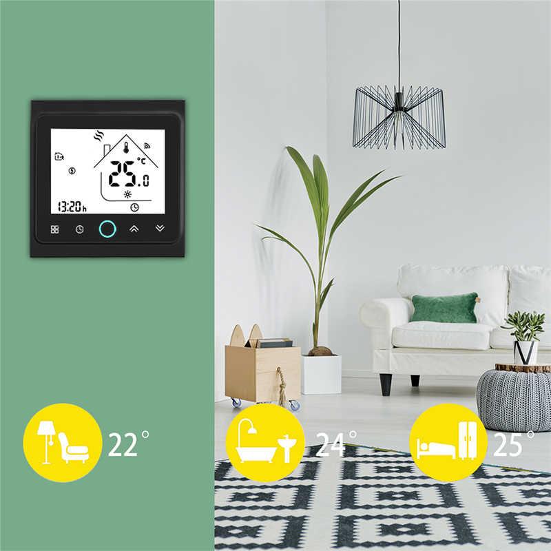 WiFi Central aire acondicionado termostato controlador de temperatura 2 tubos 4 tubos 3 velocidades ventilador bobina unidad trabajo con Alexa Google Home