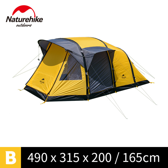 NatureHike 3- 10 person large camping tent inflating family team camp tents NH17T400-T wormhole airpole