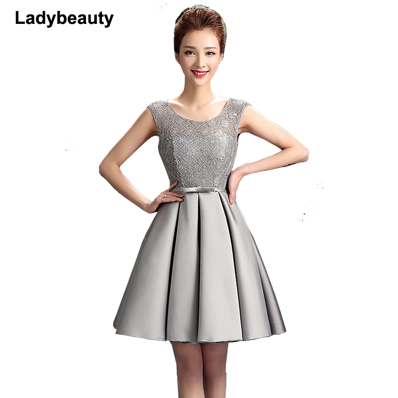 Ladybeauty New arrival elegant party mini   prom     dress   Vestido de Festa A-line lace lace-up cocktail party   dress   free shipping