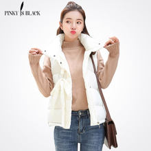 PinkyIsBlack 2019 Women Winter Vest Waistcoat New Short Sleeveless Jacket Stand Collar Down Cotton Warm Female