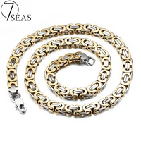 7SEAS Personality Men S Byzantine Necklaces Rock Punk Style Silver Gold Plated Link Chain Male Jewelry