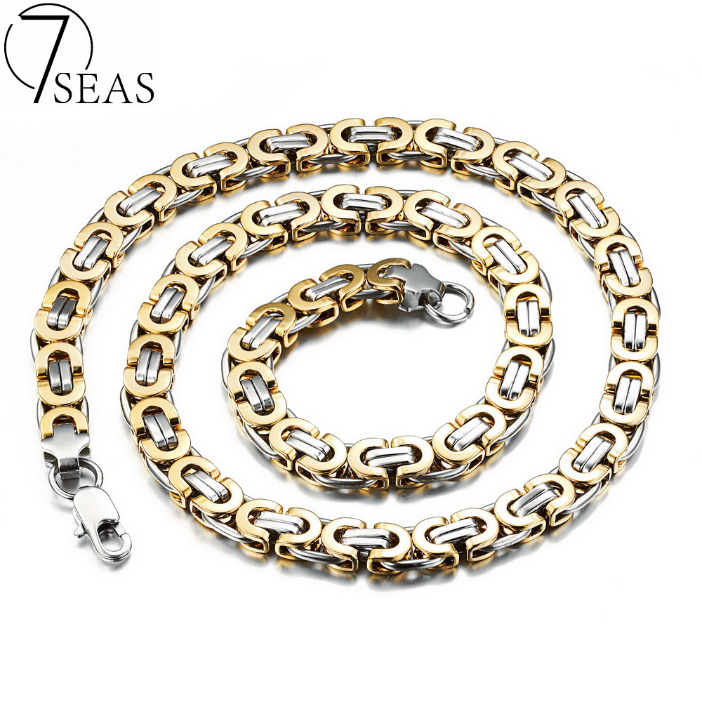 7SEAS Personality Men's Byzantine Necklaces Rock & Punk Style Silver/Gold Colors Link Chain Male Jewelry Necklace Gifts 7S330