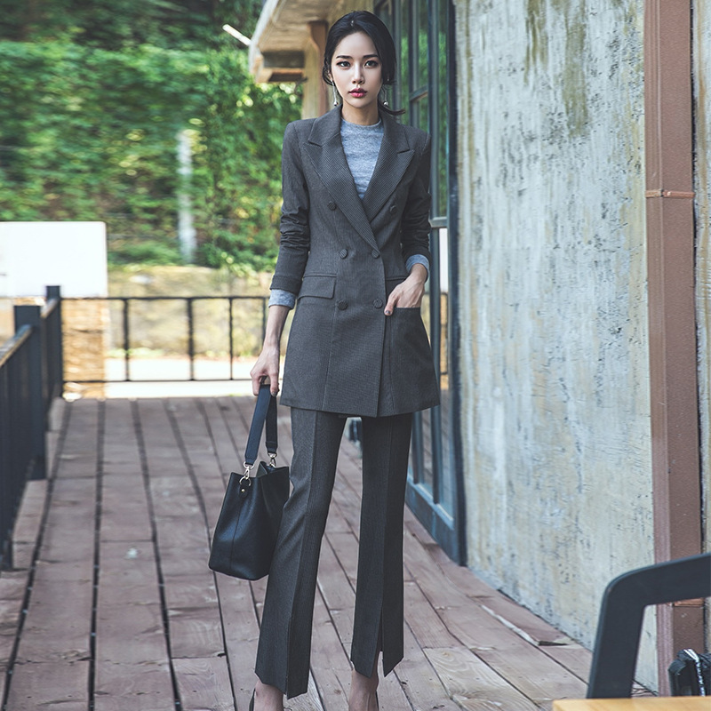Women's suit long section suit bell bottom pants two sets of women 2018 autumn new striped double-breasted temperament
