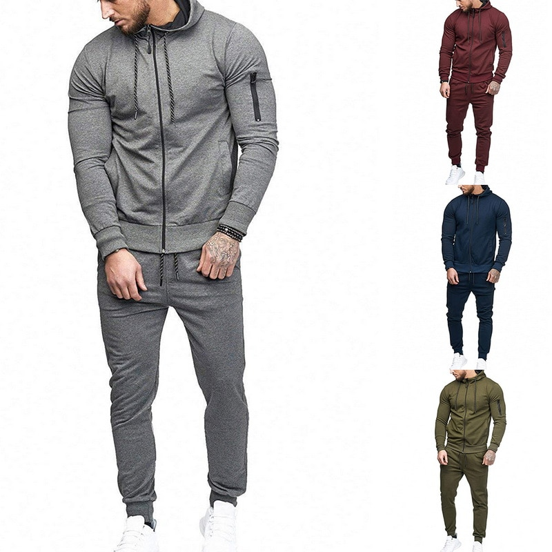 HTB1uBy asfrK1Rjy1Xdq6yemFXaX HEFLASHOR Men Drawstring Sportwear Set Fashion Solid Sweatshirt&Pants Tracksuit Casual Zipper Hoodies Outwear Clothes 2019