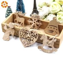 10PCS DIY Christmas Snowflakes&Deer&Tree Wooden Pendants Ornaments  Party Decorations Xmas Tree Kids Gifts