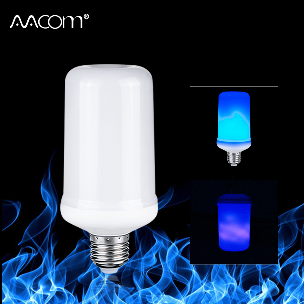 E27 LED Flame Lamp 4 Modes Blue Flame Effect Light Bulb 85-265V Flickering Emulation Fire Light With Gravity Sensor Decor Lamp 5w led flame bulb 99leds fire lamp ac85 266v two gear modes simulation flame dynamic lighting flickering effect