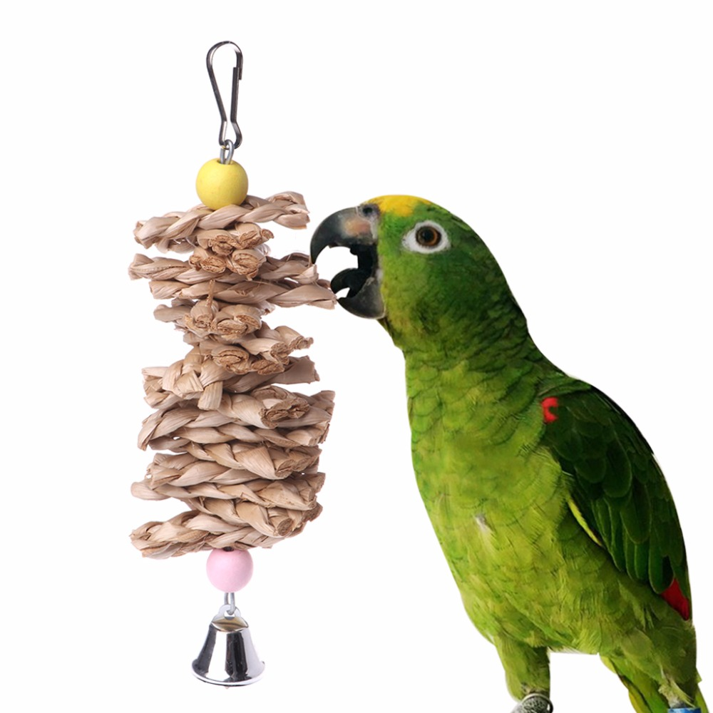 Bird Parrot Toys Natural Wooden Grass Chewing Bite Hanging Cage Accessories Bell Swing Climb Chew Toys Bird Supplies C42