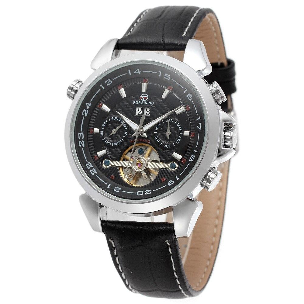 FORSINING Horloges Mannen мужские знаменитые часы Бренд день/неделя Tourbillon Авто механические часы наручные часы Подарочная коробка Бесплатная доставка