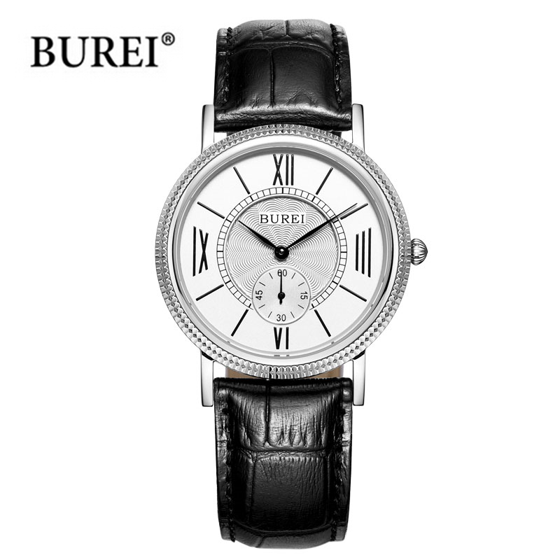 ФОТО BUREI famous Brand Quartz watch lover's leather dress Wristwatch men Fashion& Casual Watches Luxury women business clock hours