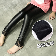 2016 Autumn and Winter children's plus thick velvet legging baby child thicking imitate Leather pants girls bottoming pant lace