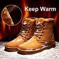 Черный/Серый/Желтый Новый 2017 Зимние Мужские Теплые Ботинки Снега Случайные Плоские Мужчин Зимний Хлопок Обувь Человек Высокого качество Botas Хомбре O2114