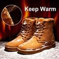 Negro/Gris/Amarillo Nuevo 2017 de Invierno Para Hombre Botas de Nieve Caliente Planos Ocasionales de Los Hombres Zapatos de Algodón de Invierno Hombre Alto calidad Botas Hombre O2114