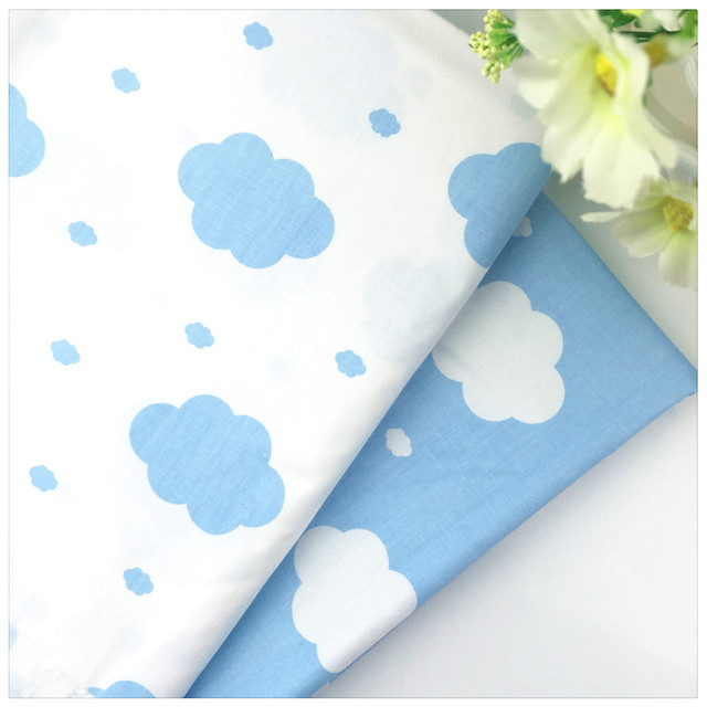 2016 New Blue Cloud Twill 100% Cotton Fabric DIY Sewing Baby Bedding the Cloth Home Textile Material Telas to Patchwork