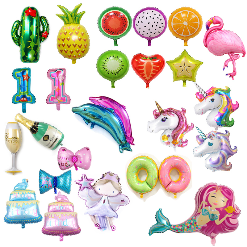 Flamingo Animal Foil Balloons Unicorn Party Helium Air Globos for Happy Birthday Decorations Hawaiian Party Decoration Supplies