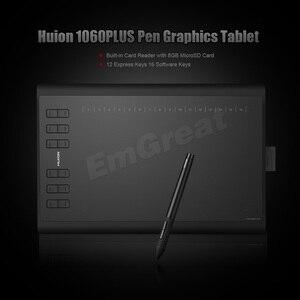 Image 2 - نسخة محترفة من Huion 1060 Plus جهاز لوحي رقمي للرسم الجرافيكي + قارئ بطاقات SD 8G 5080 LPI 12 مفاتيح صريحة + حقيبة + قفاز