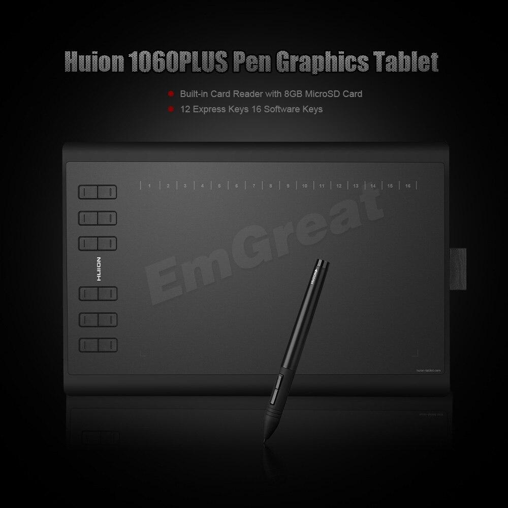 Version Pro améliorée Huion 1060 Plus tablette numérique de dessin graphique + lecteur de carte 8G carte SD 5080 LPI 12 clés Express + sac + gant - 2