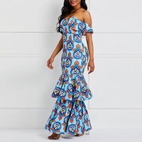 Off Shoulder Long Bodycon Dress Women Summer Party Robe Sexy Backless Mermaid Elegant Evening Ruffle Fashion Print Maxi Dresses