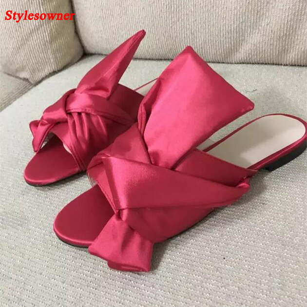 c2d7848bb4a3 Stylesowner 2017 New Arrival Women Flat Slipper Open Toe Satin Bowtie Bow  Lazy Shoe Female Comfortable Charming Slides Big Size