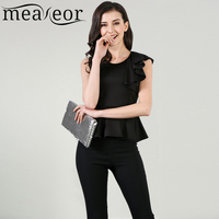 Meaneor Women S Spring Summer Tank Solid Sleeveless O Neck High Waist One Shoulder Asymmetric Ruffles