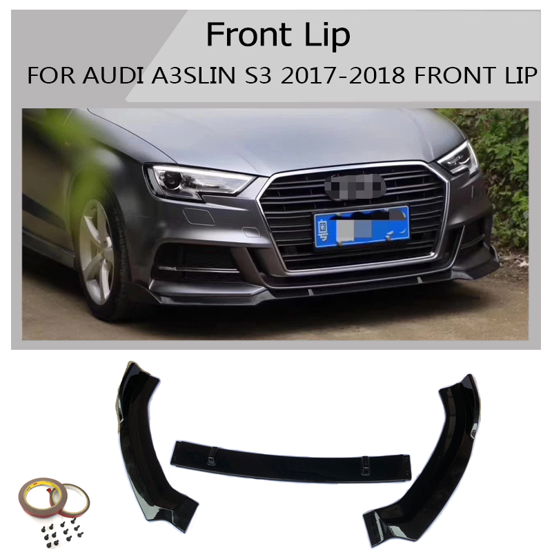 Carbon SPOILER Front Bumper Lip Splitter Fins Body For Audi A4 sline S4 2017-up