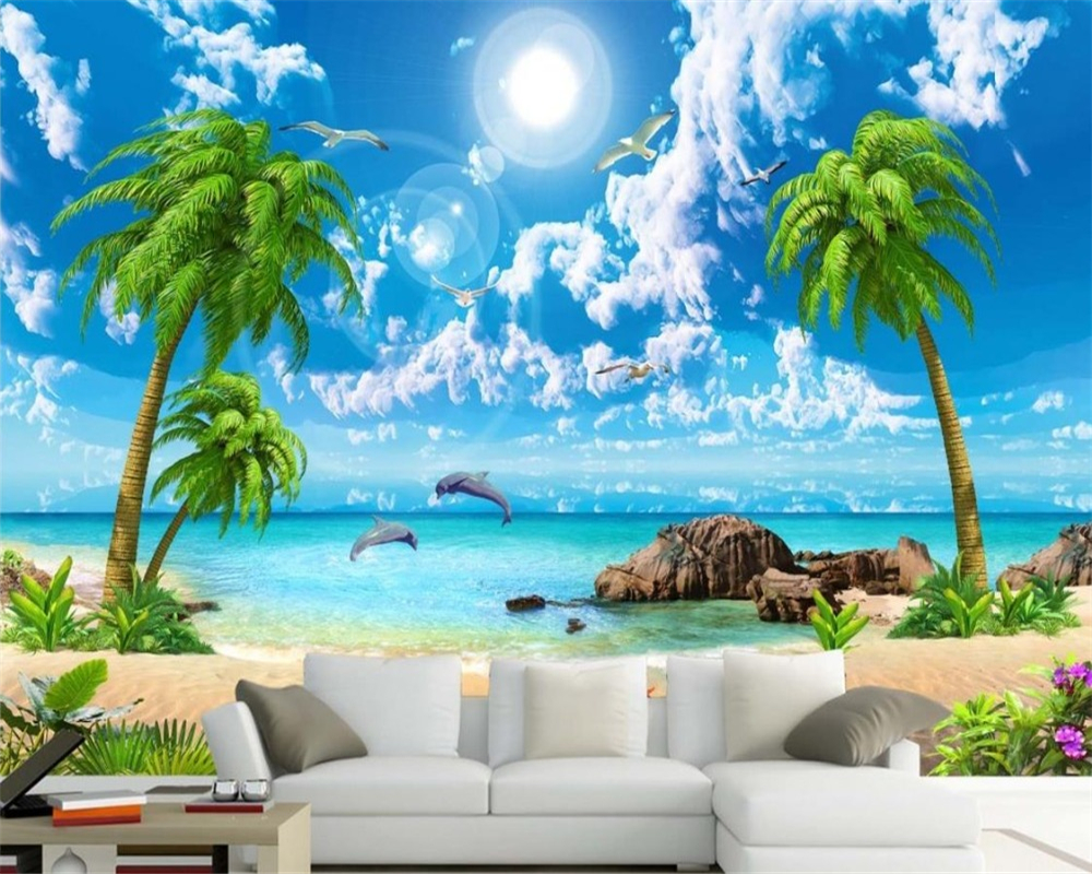 beibehang wallpaper for walls 3 d Custom Large wallpapers Sea view coconut beach scenery 3d wall murals wallpaper papier peint sea world 3d wallpaper murals for living room bedroom photo print wallpapers 3 d wall paper papier modern wall coverings