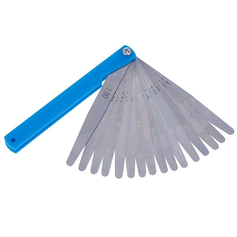 1 Set Metric Feeler Gauge 17 Blades 0.02-1.00mm Measurements Tools Stainless Steel Foldable Thickness Gap Filler Feeler Gauges