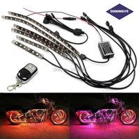 DOXINGYE 72LED Car Motorcycle RGB Atmosphere Light Decorative 6 Strip Neon Lamp Remote Control